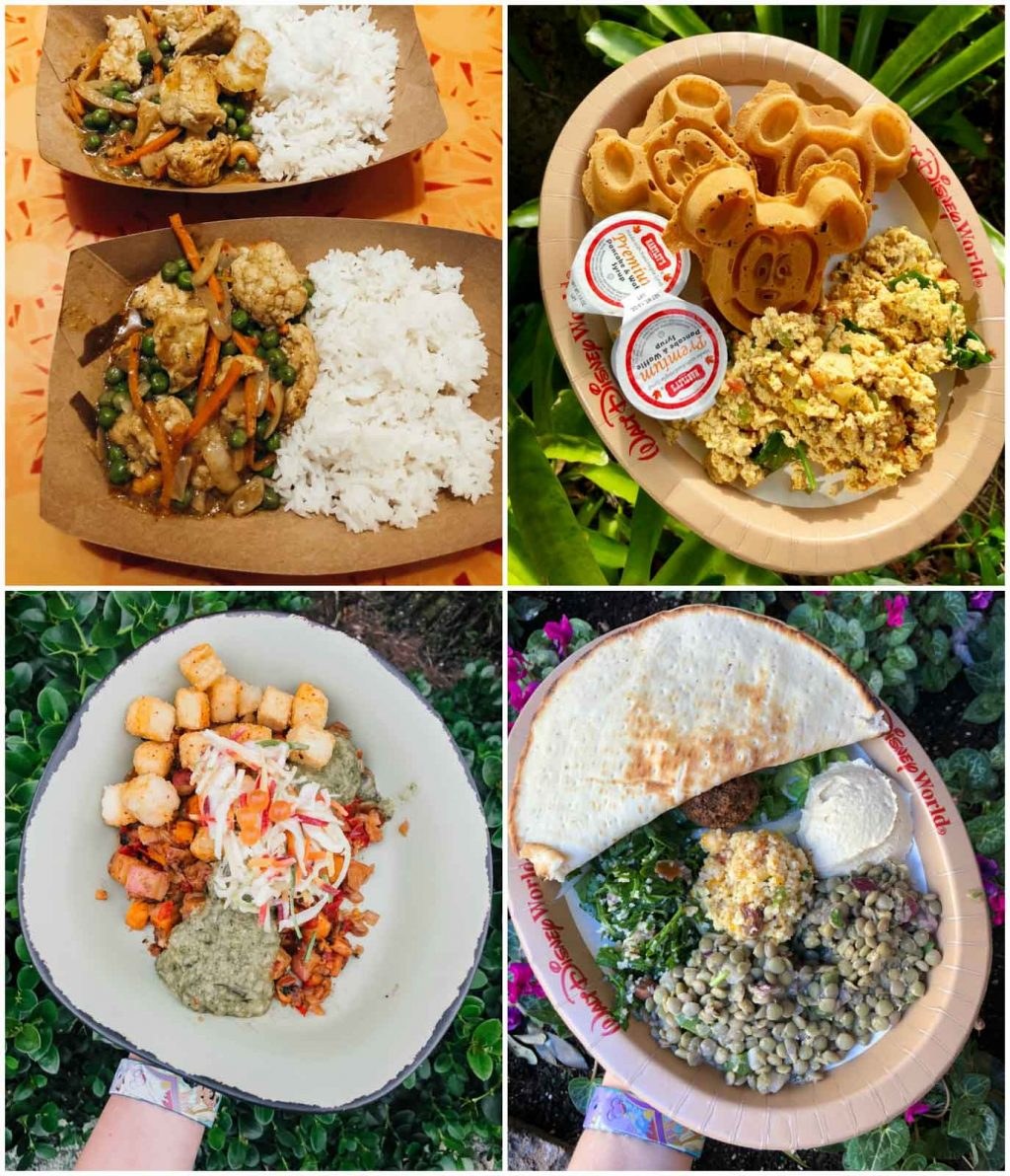 A photo collage showing multiple veganism food options at Disney World.
