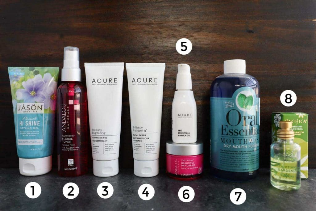 A line up of multiple different vegan personal care products.