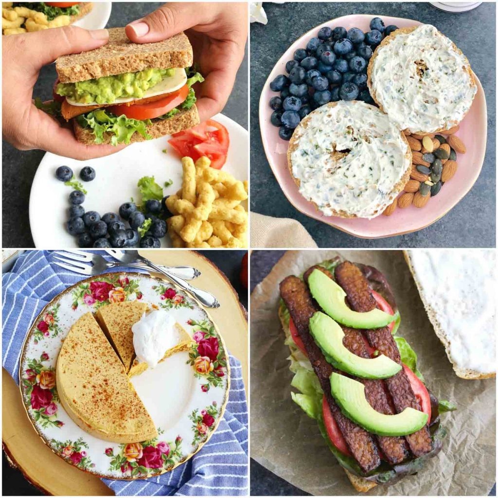 A photo collage showing veganism meals made with vegan products.