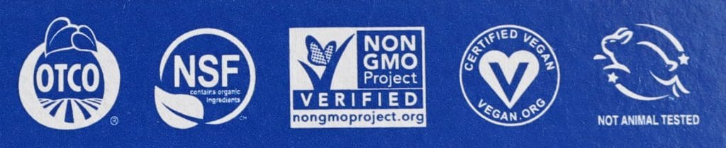 A rectangular blue label on a vegan product marked with 5 symbols.