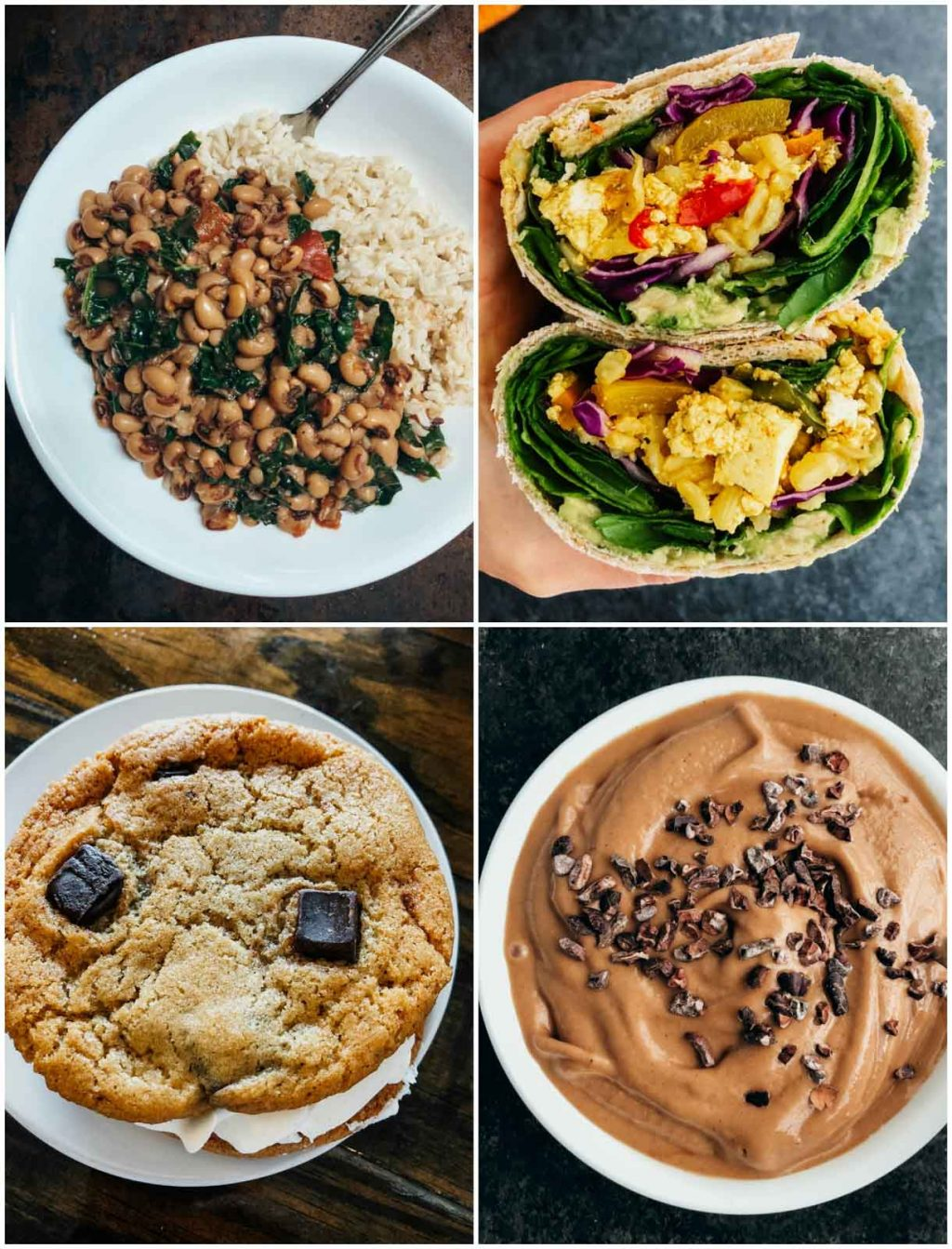 A photo collage showing pictures of delicious vegan food from @Stacey_Homemaker on Instagram.
