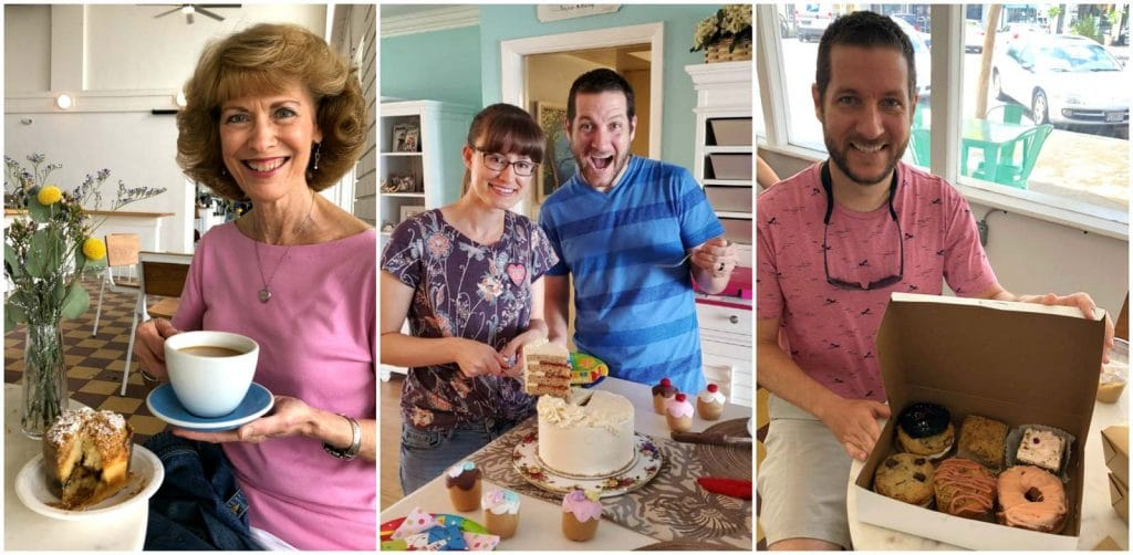 A photo collage showing a family enjoying vegan baked goods at a bakery and at home.