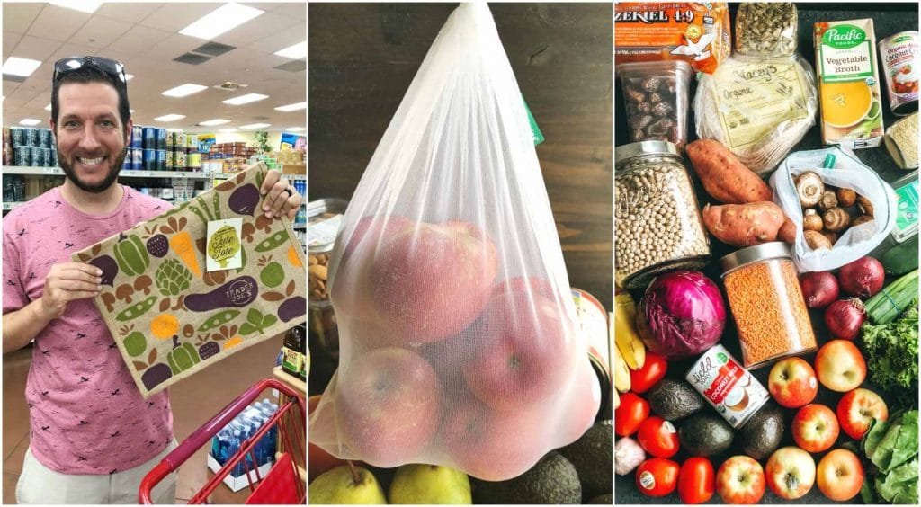 A photo collage showing a man using reusable bags to go grocery shopping.