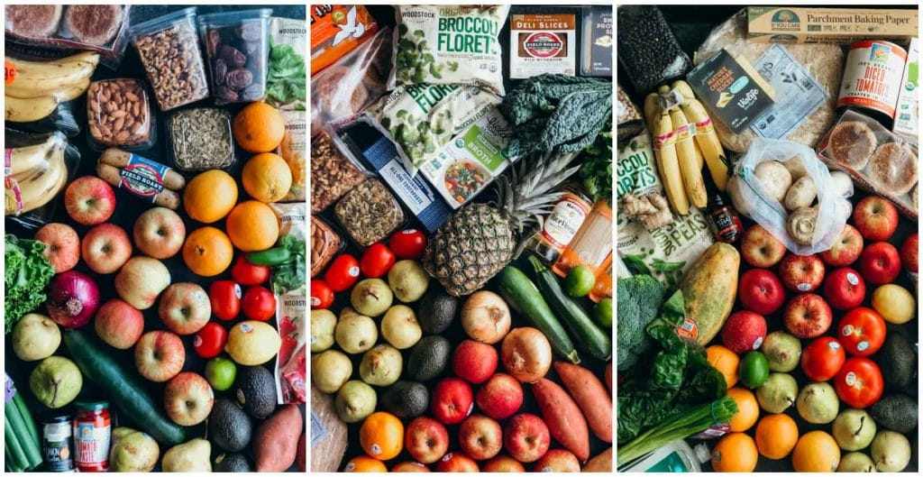 A photo collage showing pictures of multiple vegan grocery hauls.