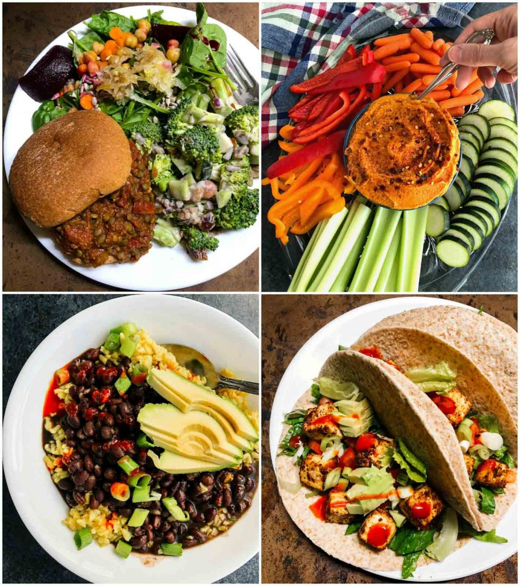 A photo collage showing pictures of high-protein vegan recipes.