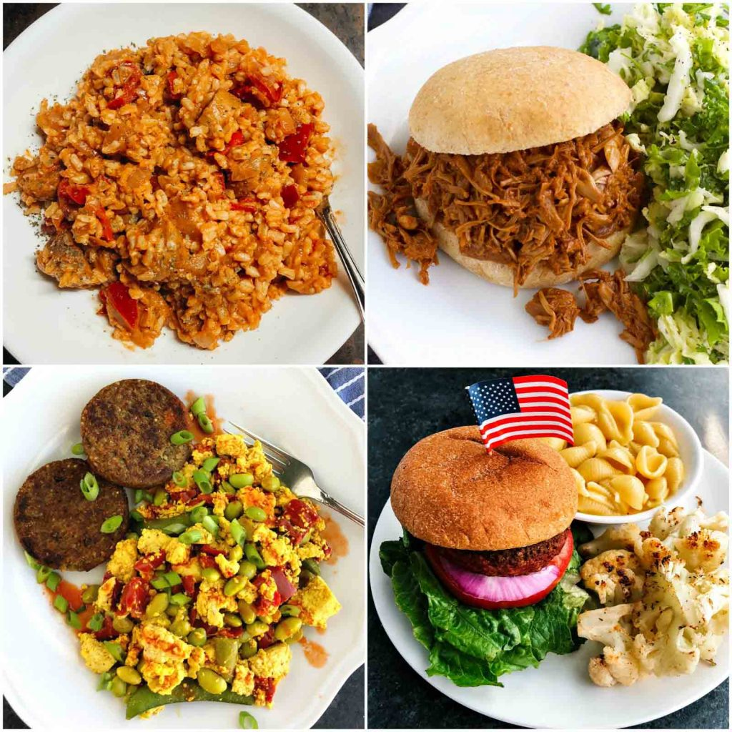 A photo collage showing pictures of recipes to use vegan meat replacements.