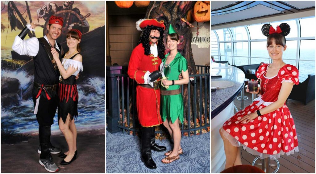A photo collage showing pictures of a couple dressed up for pirate night and Halloween night as Minnie Mouse, Peter Pan, Captain Hook, and pirates on a Disney cruise.