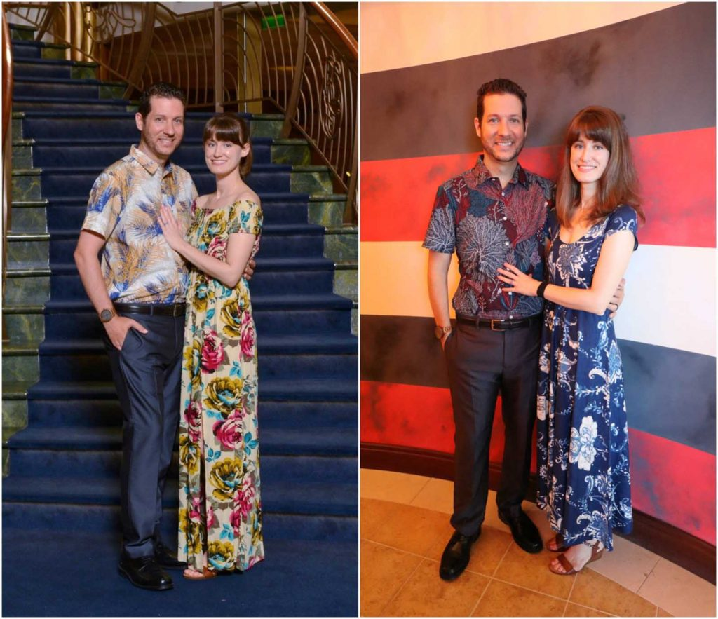 A photo collage showing a man and woman dressed in formal wear for a Disney Cruise.
