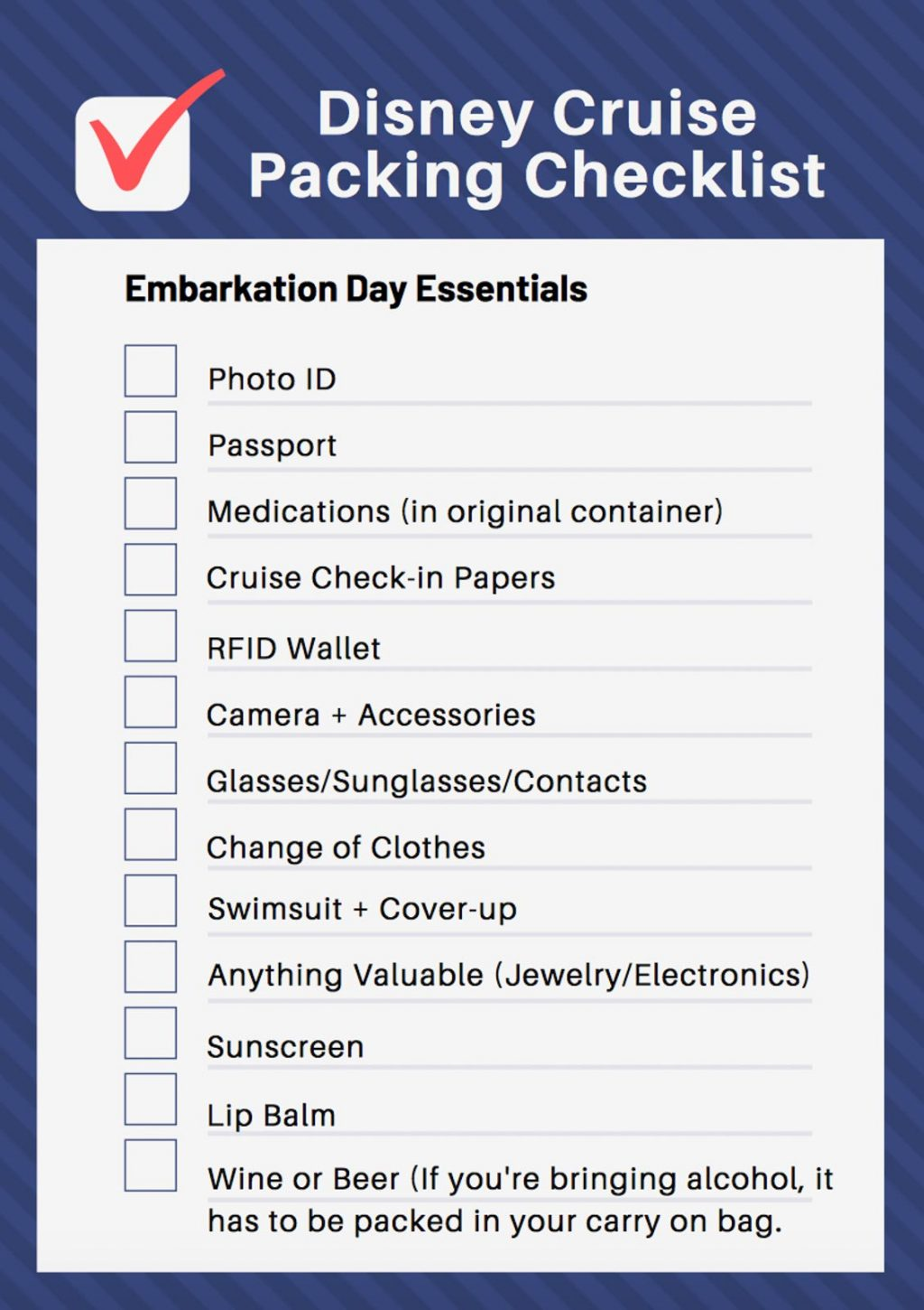 A free printable Disney cruise packing list.