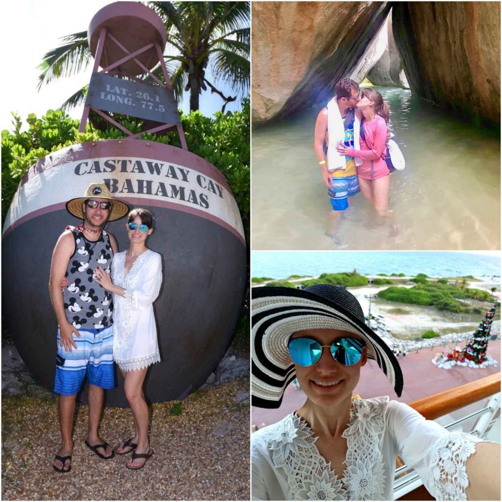 A photo collage showing a man and woman going on excursions at Castaway Cay and Tortola on a Disney cruise.