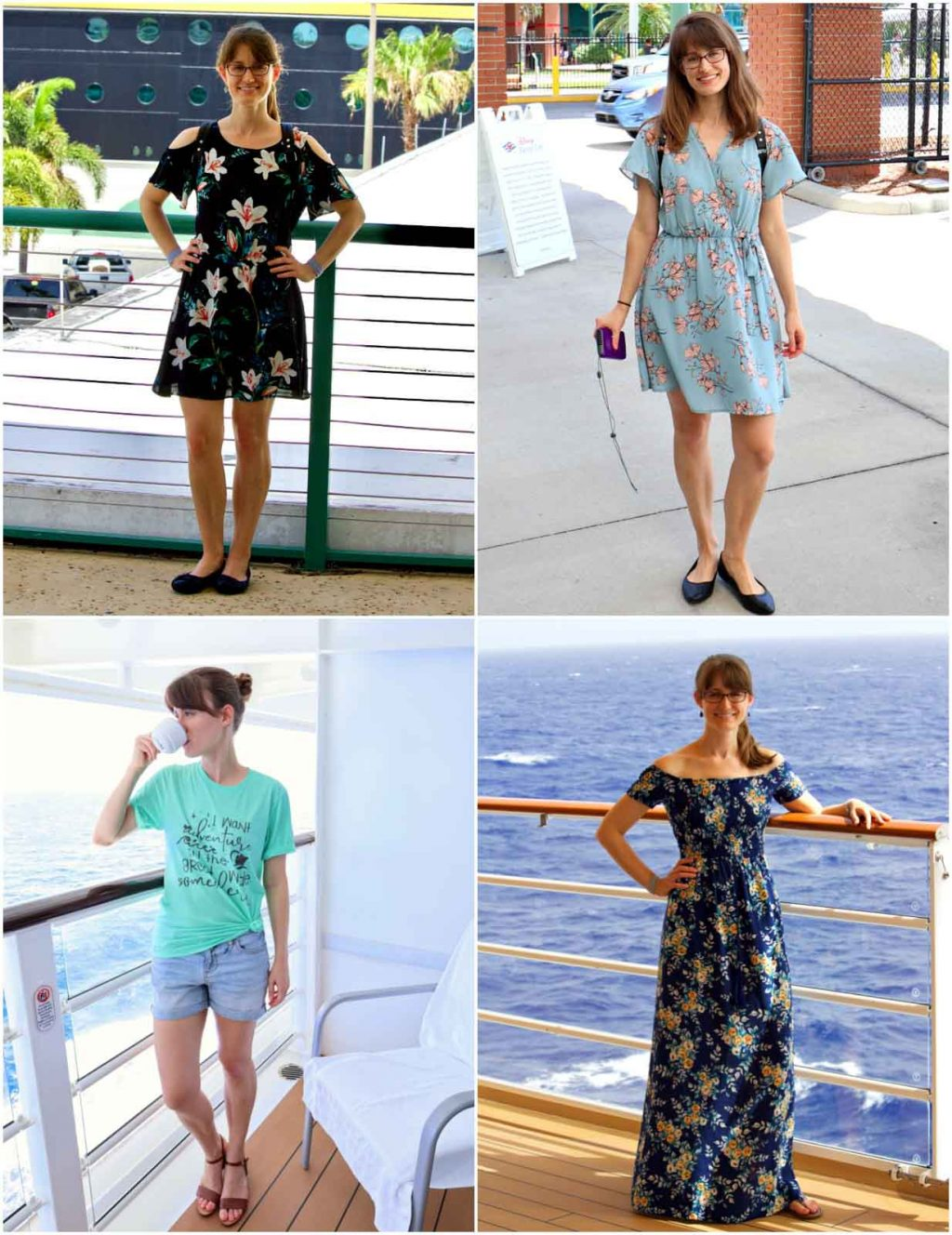 A young woman modeling Disney cruise outfit ideas on the Disney Fantasy.