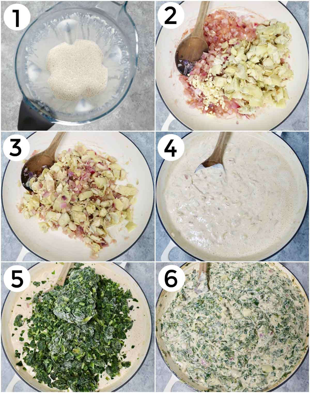 A photo collage showing how to make vegan spinach artichoke dip in 6 easy steps.