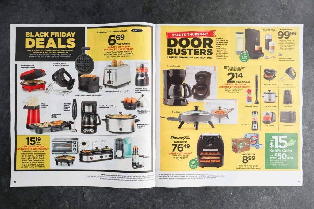 The Kohl's Black Friday ad opened to the cooking appliance page.