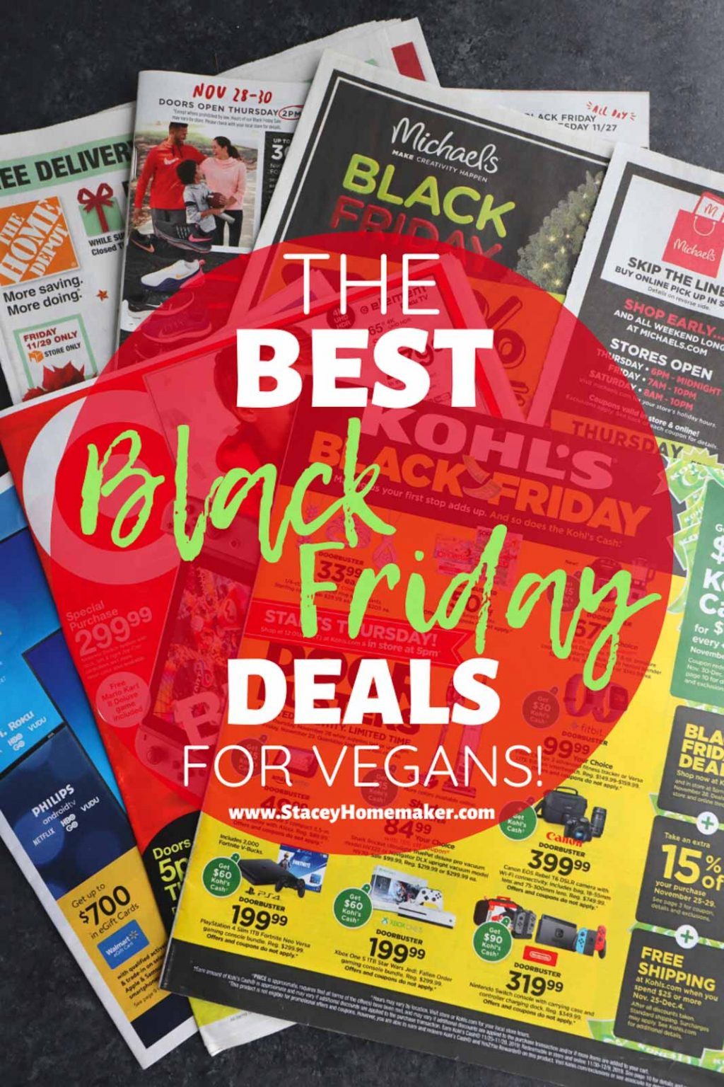 "A label says ""The Best Black Friday Deals for Vegans"" on top of a pile of store ads."