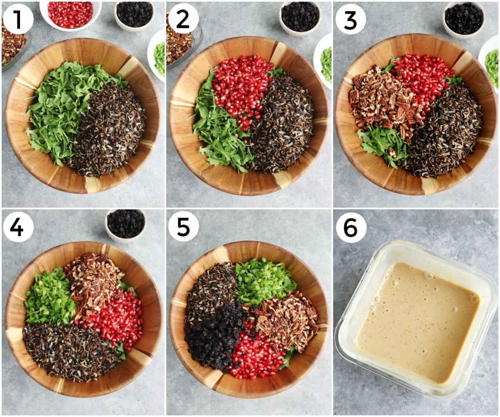 A photo collage showing how to make the recipe in 6 easy steps.