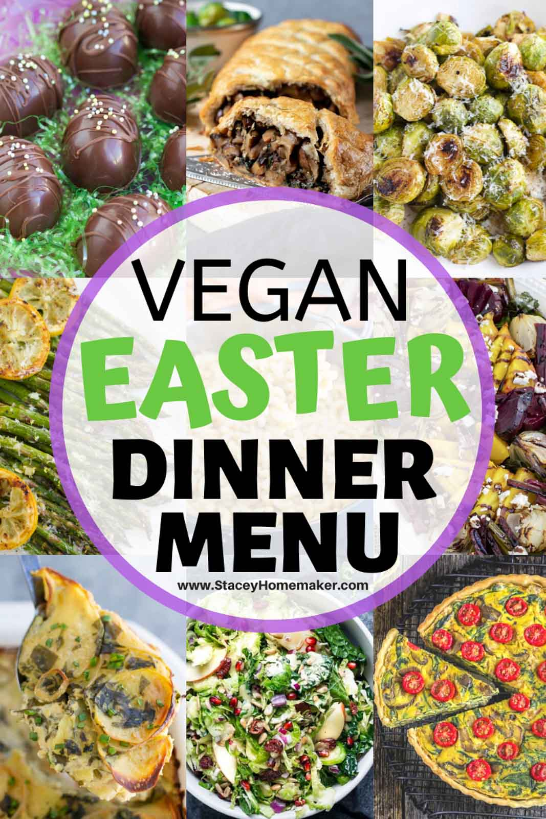 A photo collage showing multiple plant based recipes to make for Easter dinner or brunch.