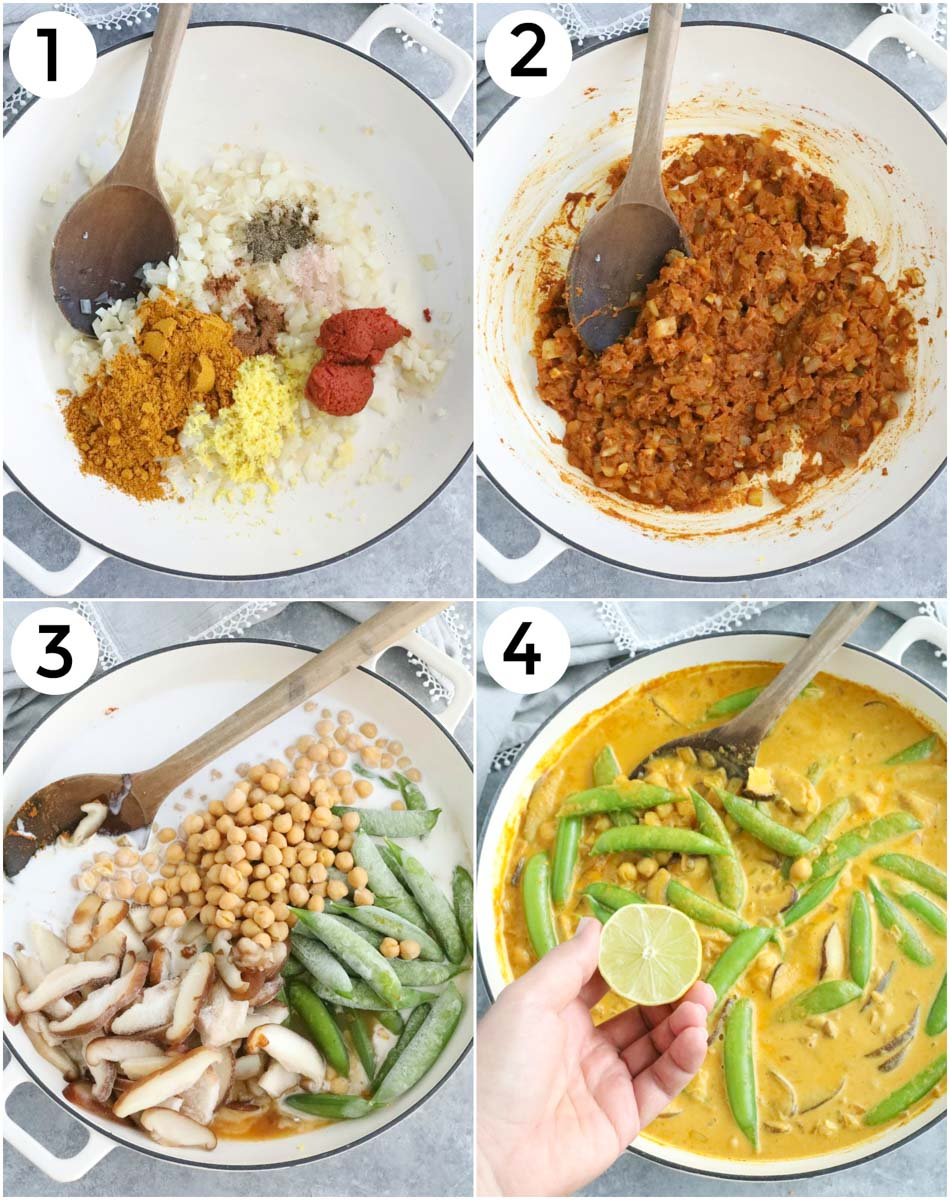 A collage of photos showing how to make vegan curry in 4 easy steps.