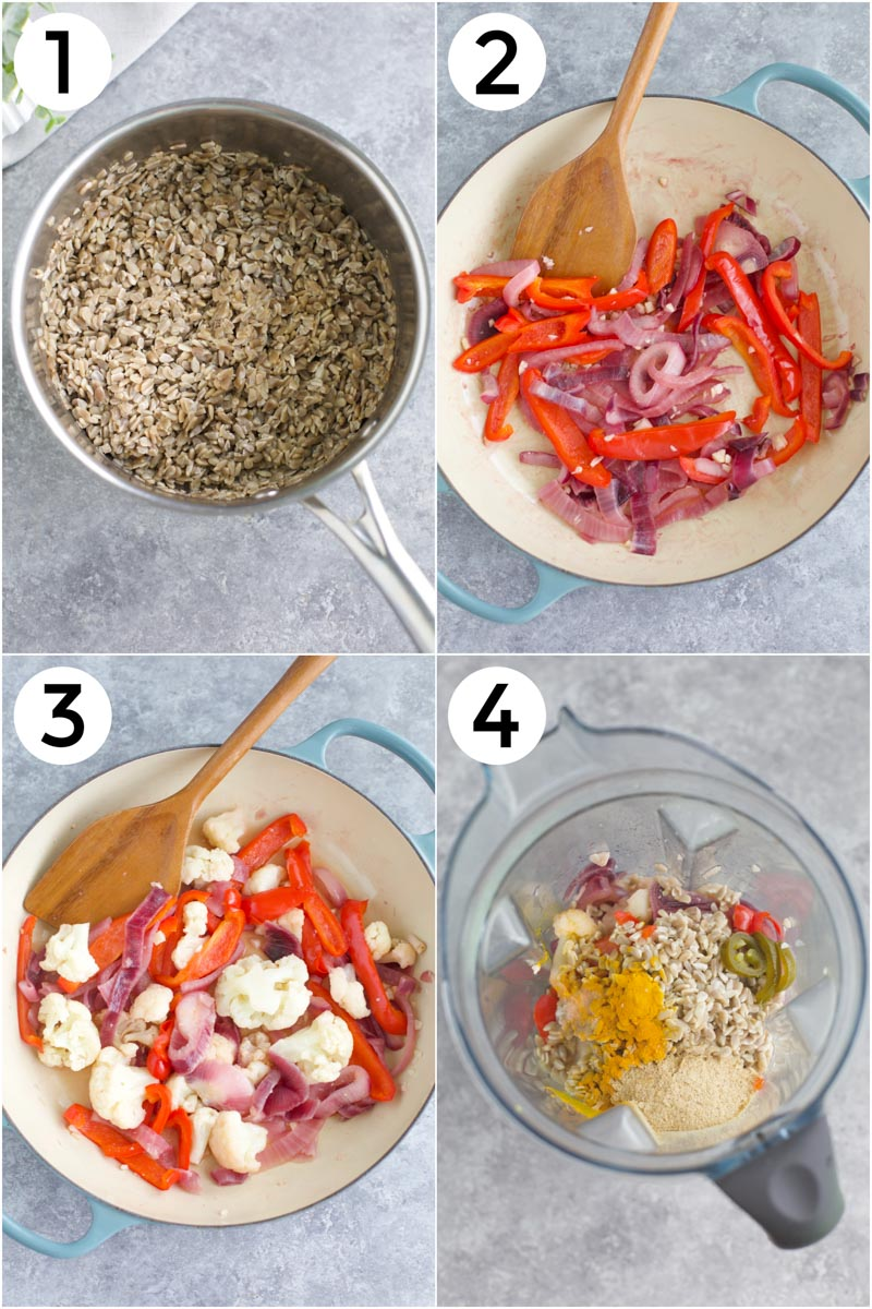 A collage of pictures showing how to make the recipe in 4 easy steps.