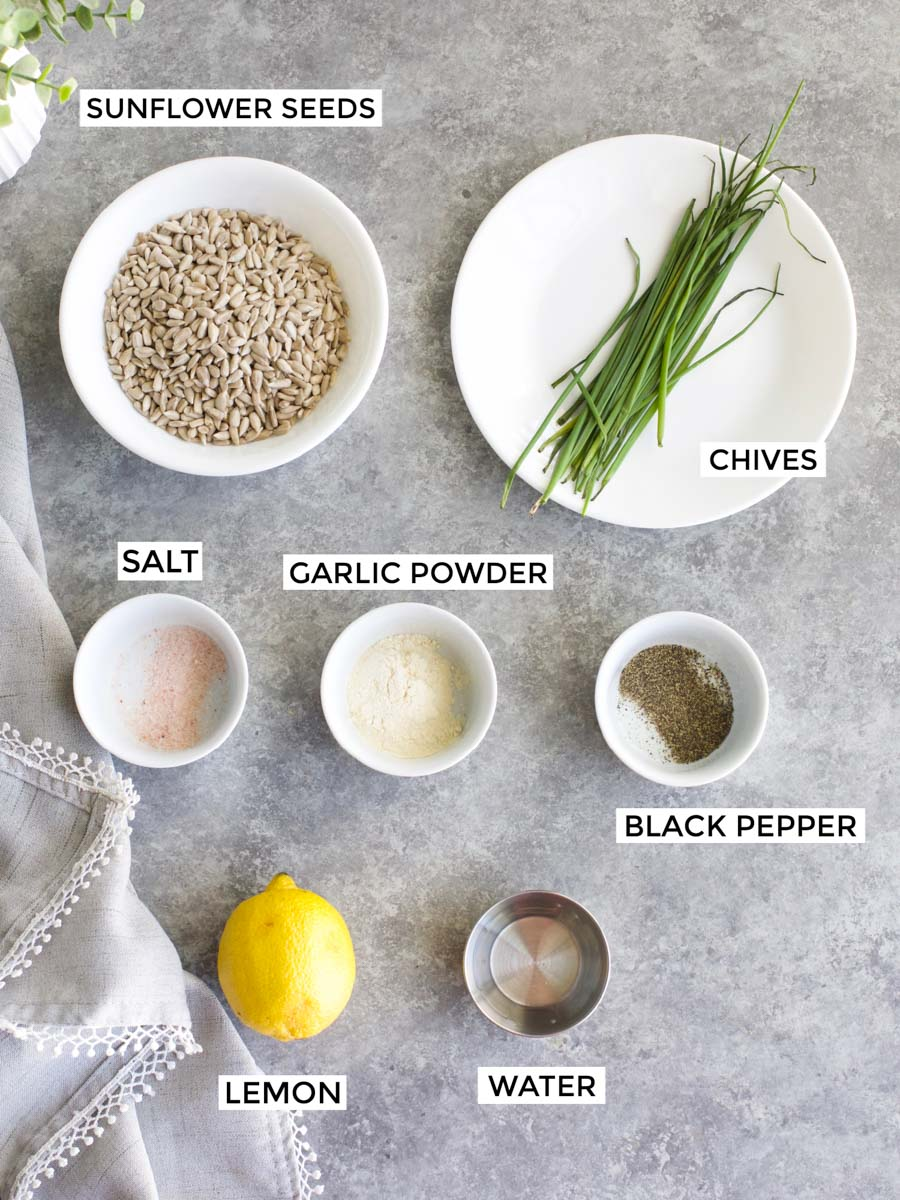 All of the ingredients needed to make the recipe laid out on a gray background.