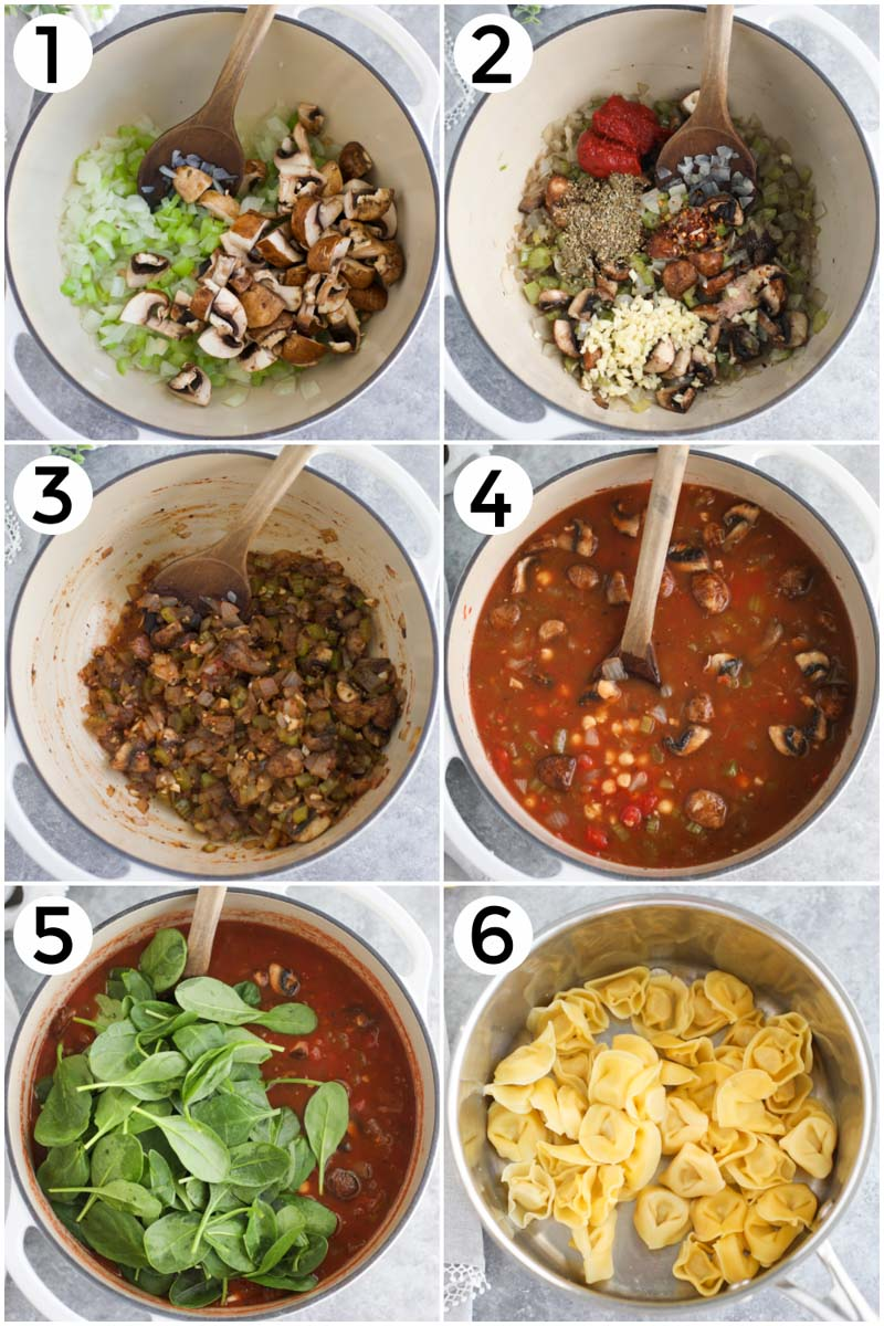A collage of pictures showing how to make vegan tortellini soup in 6 easy steps.