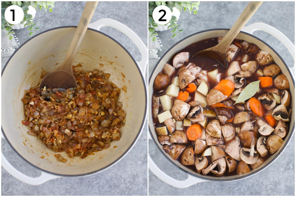 A collage of photos showing the first two steps to make the recipe. (Left) sautéed onions + seasonings. (Right) All of the vegetables and liquids added to the pot.