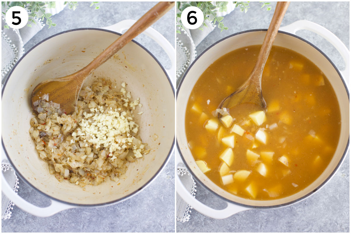A collage of two photos showing how to saute onions and garlic + how to cook potatoes in the soup.