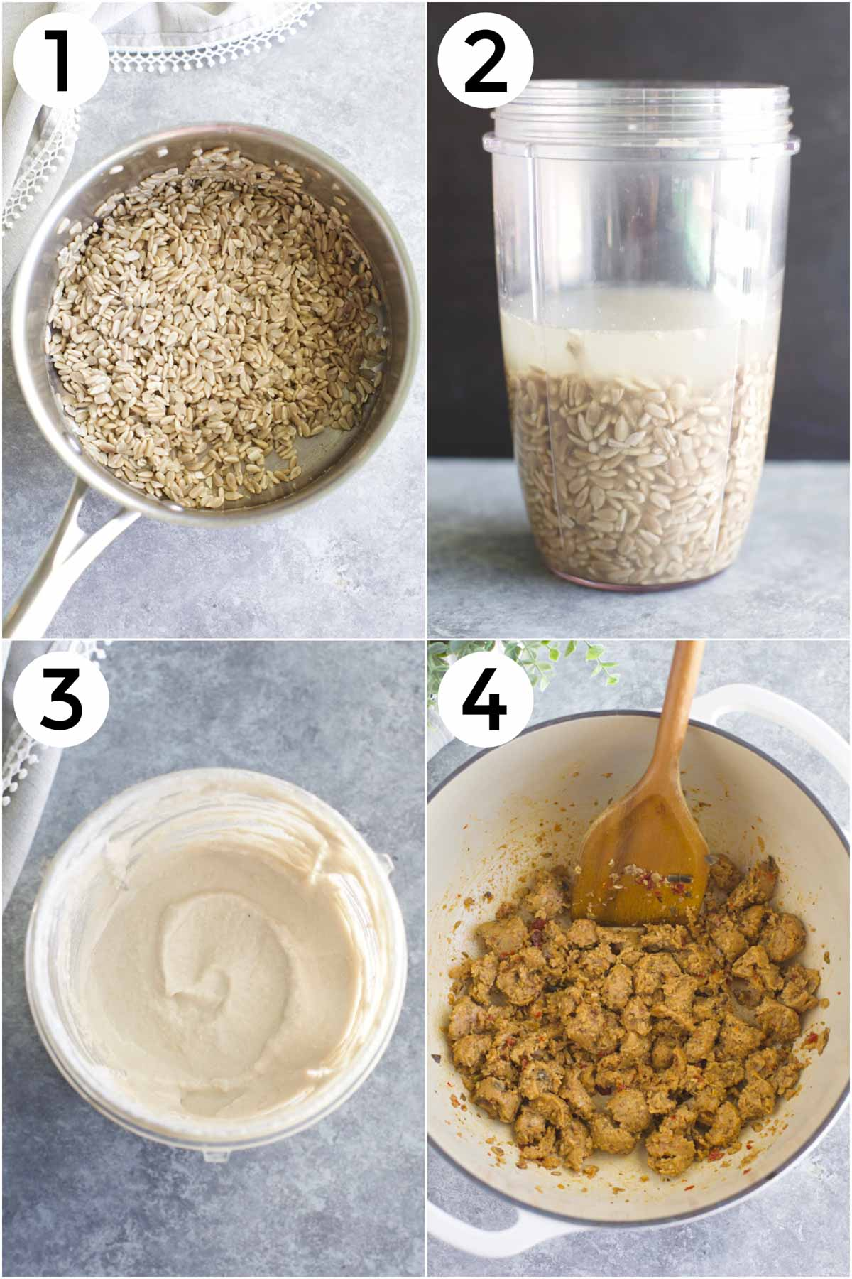 A collage of 4 photos showing how to make sunflower cream and to brown meatless sausage.